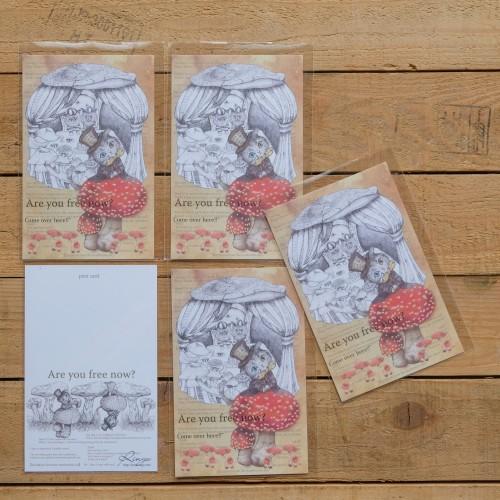 日本雙面印刷明信片-蘑菇貓傑克
